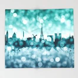 Paris France Skyline Throw Blanket