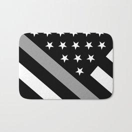 U.S. Flag: Black Flag & The Thin Grey Line Bath Mat