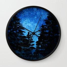 Blue Sky - Evergreen Trees Wall Clock