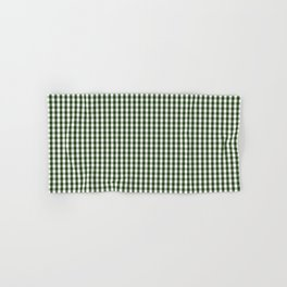 Small Dark Forest Green and White Gingham Check Hand & Bath Towel