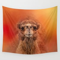camel Wall Tapestries featuring Dromedary Camel by Jai Johnson