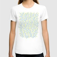 lime T-shirts featuring Berry Branches - Lime & Blue by Cat Coquillette