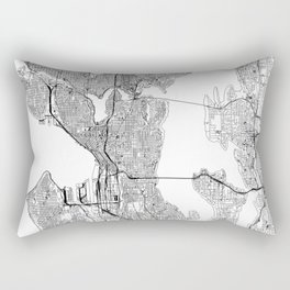 Seattle White Map Rectangular Pillow