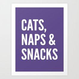 Cats, Naps & Snacks (Ultra Violet) Art Print