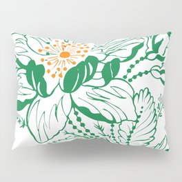 Japanese Style Green with Orange Flowers Pillow Sham