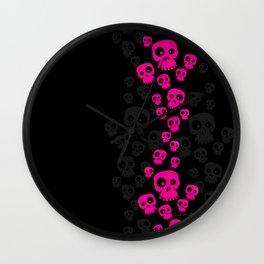 Skulls Fun - pink/black Wall Clock