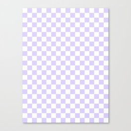 White and Pale Lavender Violet Checkerboard Canvas Print
