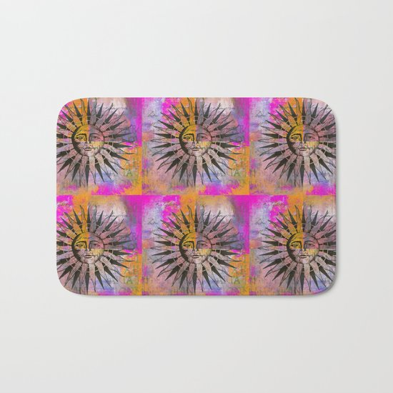 Sun illustration pink orange Bath Mat