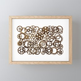 Group of brass pinions Framed Mini Art Print