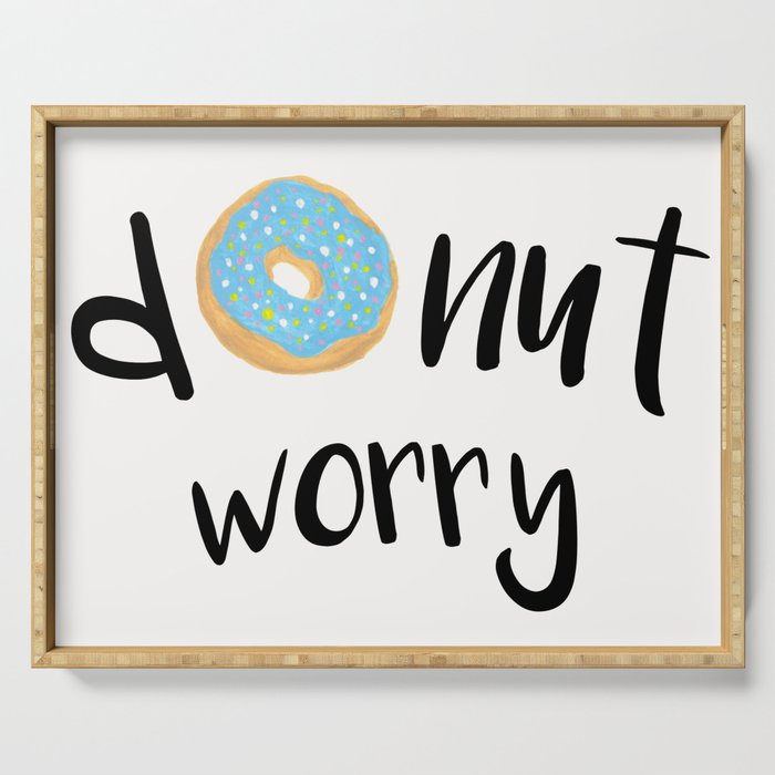 Donut Worry Blue Serving Tray