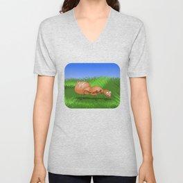 Ant smiling in tall green grass Unisex V-Neck