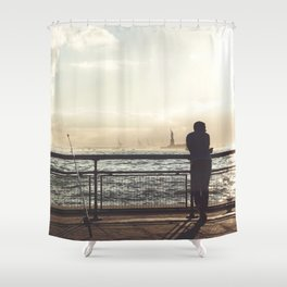 Lady Liberty, my man, some fisher people. Shower Curtain