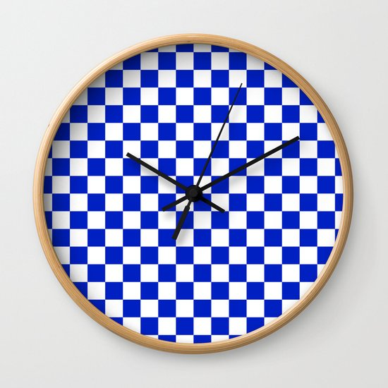 Cobalt Blue and White Checkerboard Pattern by podartist