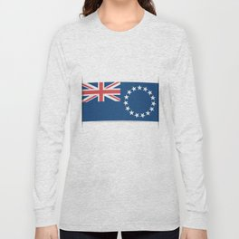 Flag of Cook Islands. The slit in the paper with shadows. Long Sleeve T-shirt