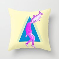 political Throw Pillows featuring A perfect day for bananafish by Laura Nadeszhda