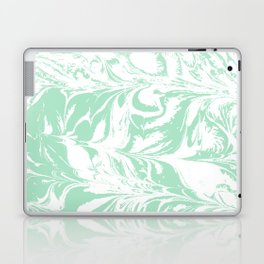 Asa - spilled ink mint marble japanese watercolor marbling marbled water wave ocean sea minimal Laptop & iPad Skin