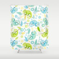 chameleon Shower Curtains featuring Chameleon by Heleen van Buul