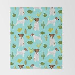 Jack Russell Terrier cactus desert custom pet portrait dog art by pet friendly Throw Blanket