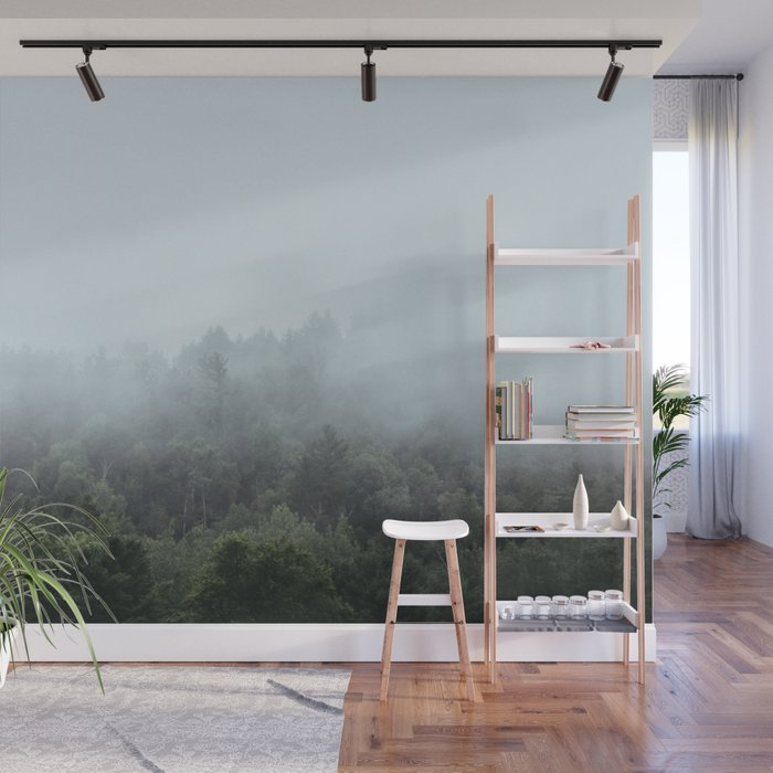 Foggy Forest Blue Mist in the Morning   Landscape Photography Wall Mural