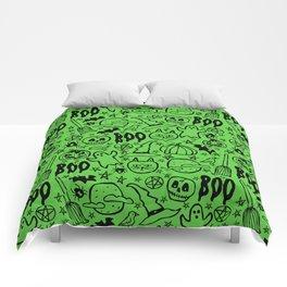 Spooky Pattern - Lime Green Comforters