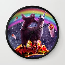 Space Sloth Riding Llama Unicorn - Taco & Burrito Wall Clock