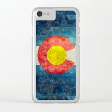 Colorado State Flag Vintage Grunge Clear iPhone Case