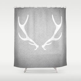 White Grey Antlers Shower Curtain