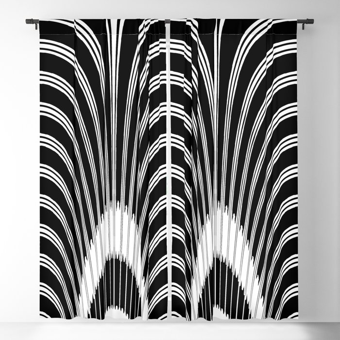 Black and White Geometric Arches Blackout Curtain