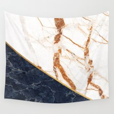 Classy Elegant White Blue Gold Marble Wall Tapestry
