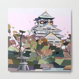 Geometric Osaka castle, Japan Metal Print