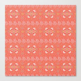 Coral Daisies Patchwork Cosy Homely Quilt Design Canvas Print