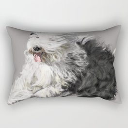Old English Sheepdog On the Move Rectangular Pillow