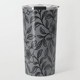 Vintage Lace Floral Sharkskin Travel Mug