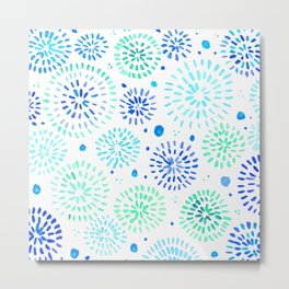 Abstract watercolor sparkles – aqua and blue Metal Print