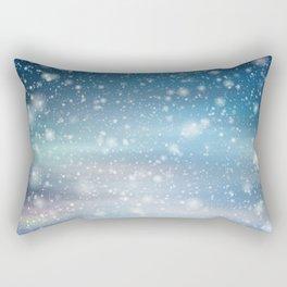 Snow Bokeh Blue Pattern Winter Snowing Abstract Rectangular Pillow
