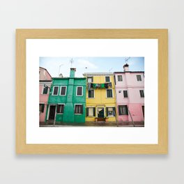 Laundry drying in Burano, Italy Framed Art Print