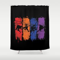 teenage mutant ninja turtles Shower Curtains featuring TEENAGE MUTANT NINJA TURTLES by Beka