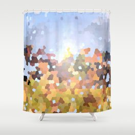 Autumn landscape - abstract mosaic background Shower Curtain