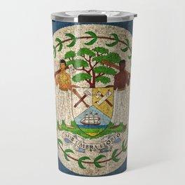 Old and Worn Distressed Vintage Flag of Belize Travel Mug