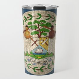 Old and Worn Distressed Vintage Flag of Belize Travel Mug
