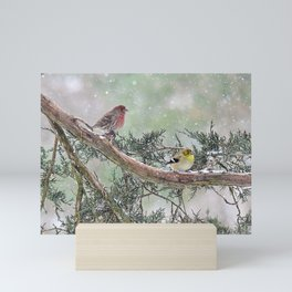 Two Finches in a Snowstorm Mini Art Print