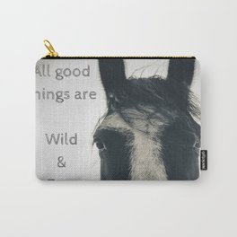 All Good Things are Wild and Free, thoreau quote, horse photo sepia inspirational freedom Carry-All Pouch