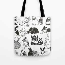 Black and White Bunnies Tote Bag