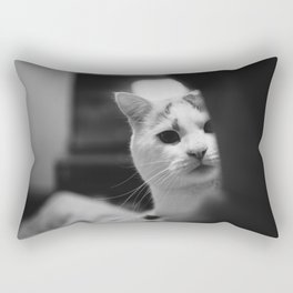 Cat peeking over owner's shoulder - black & white Rectangular Pillow