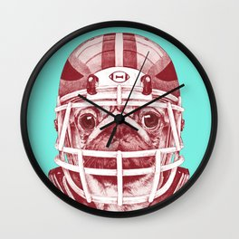 American Pug Football Red Wall Clock