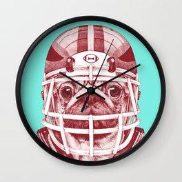 American Pug Football Red Wall Clock