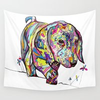 dachshund Wall Tapestries featuring Rainbow Dappled Dachshund Painting by Melissa