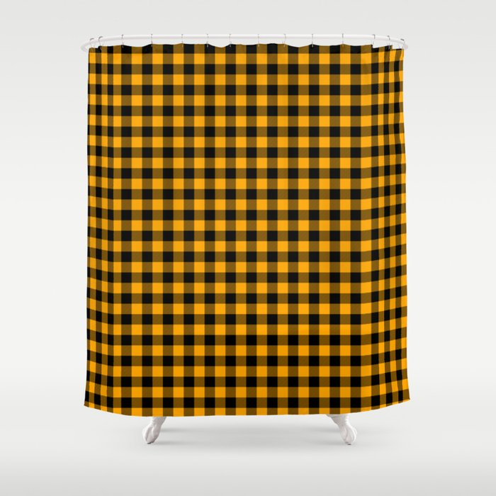 Classic Orange Country Cottage Summer Buffalo Plaid Shower Curtain By Podartist