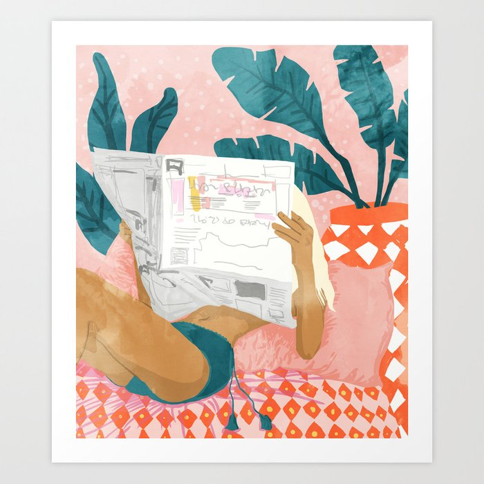 Morning News, Modern Bohemian Illustration, Woman Reading Newspaper, Banana Leaves, Tropical Art Print