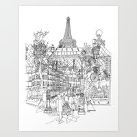 Paris B&W (Dark T-shirt version) Art Print